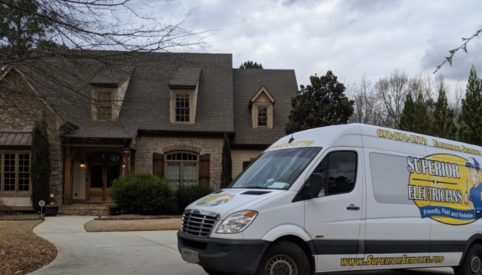 Superior Electricians Truck Parked At Residential Home